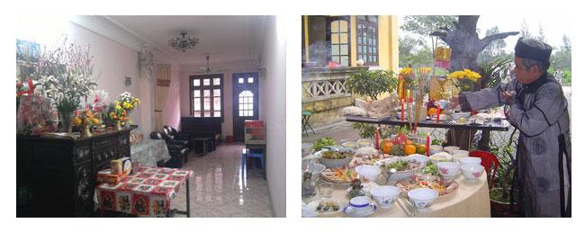 Des coupes chargées d'offrandes de fruits, des fleurs et des assiettes copieusement garnies de différents plats traditionnels sont déposées sur les autels et des encens aux parfums grisés sont brûlés continuellement.