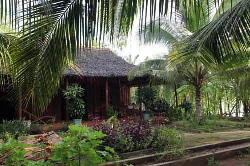 L'adresse de ce homestay est une petite paillotte couverte de feuilles de palmiers d'eau...