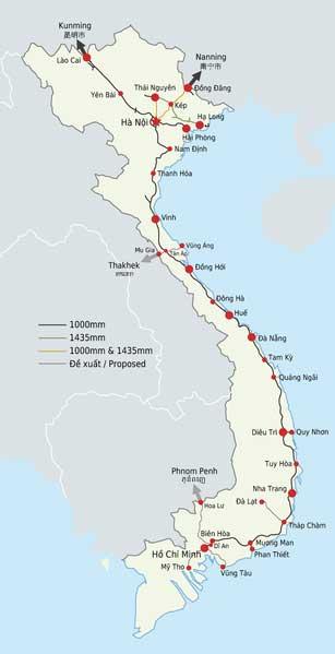 Carte des voies ferrées du Viêt Nam.