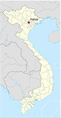 Hanoï se trouve au nord du Vietnam jouxtant le fleuve Rouge.
