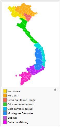La carte des régions du Vietnam