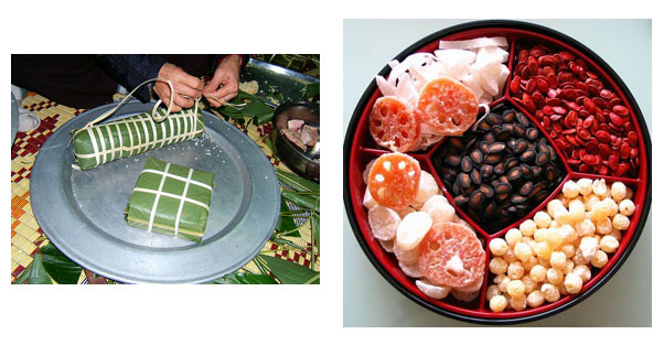Gâteaux de riz gluant carré (du Nord Vietnam - bánh chưng) ou cylindrique (du Sud Vietnam - bánh tét), fruits confits, graines de pastèques grillées colorées de rouge..., ce sont des mets typiques du nouvel an vietnamien.