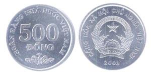 Pièce de 500 đồng.
