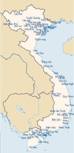 Informations pratiques sur les villes du Vietnam